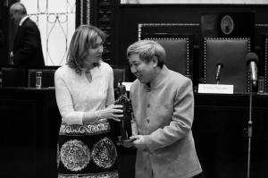 Jen Lien-kche přebírá cenu Franze Kafky, autor: Lukáš Jasanský