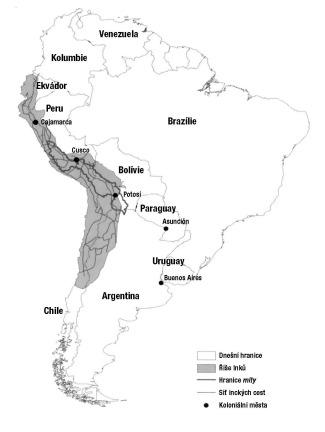 Mapka č. 1: Říše Inků, síť cest a sběrná oblast pro hornickou mitu