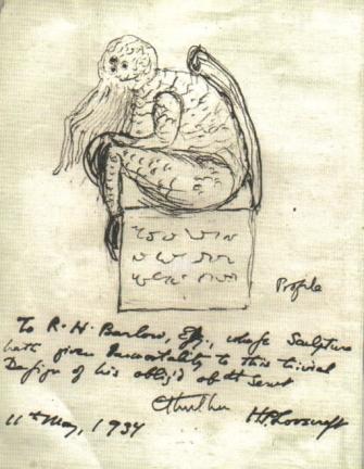 Ctulhu, náčrtek z roku 1934